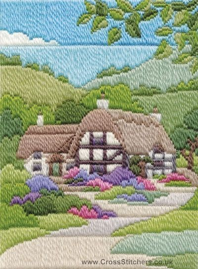 Summer Cottage Long Stitch Kit by Derwentwater Designs from the range 'Seasons in Long Stitch' designed by Rose Swalwell.