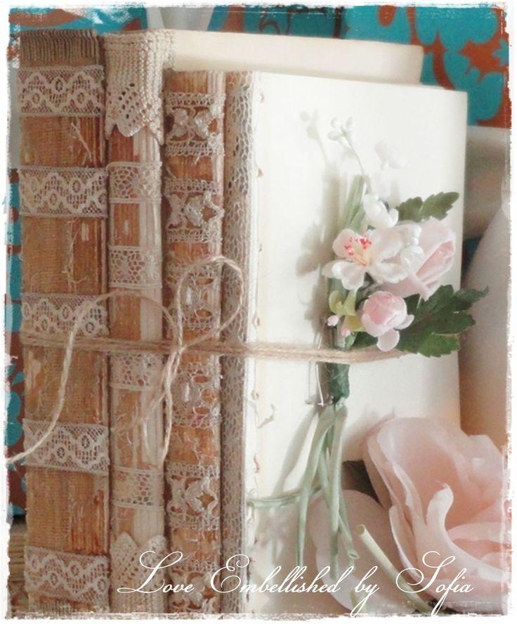 Antique Book Bundles Lace Trim Vintage Early Mid Century Distressed Book Stack Antique Lace Trim Romantic Decor - Bookshelf Decoration  No 4.