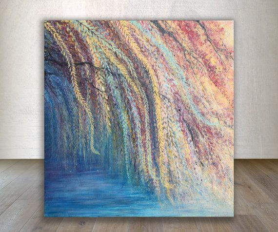 Wall Art Acrylic Painting Weeping Willow Tree Painting Tree Art Nature Painting Impressionist Painting Autumn Leaves Impressionism
