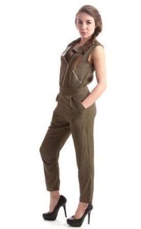 Studded Army Green Jumpsuit Sleeveless Zipper Playsuit Juniors