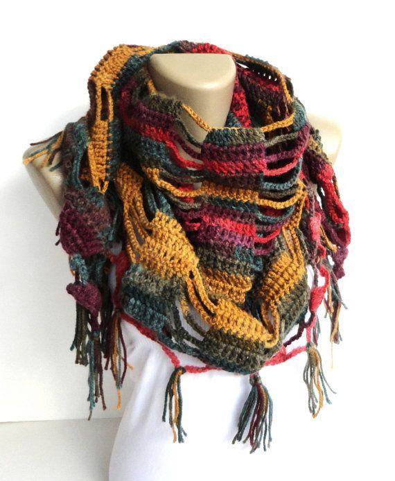 colorful scarves ,women shawl scarf ,crocheted scarf - neckwarmer - womens fashion accessory on Etsy, $35.00