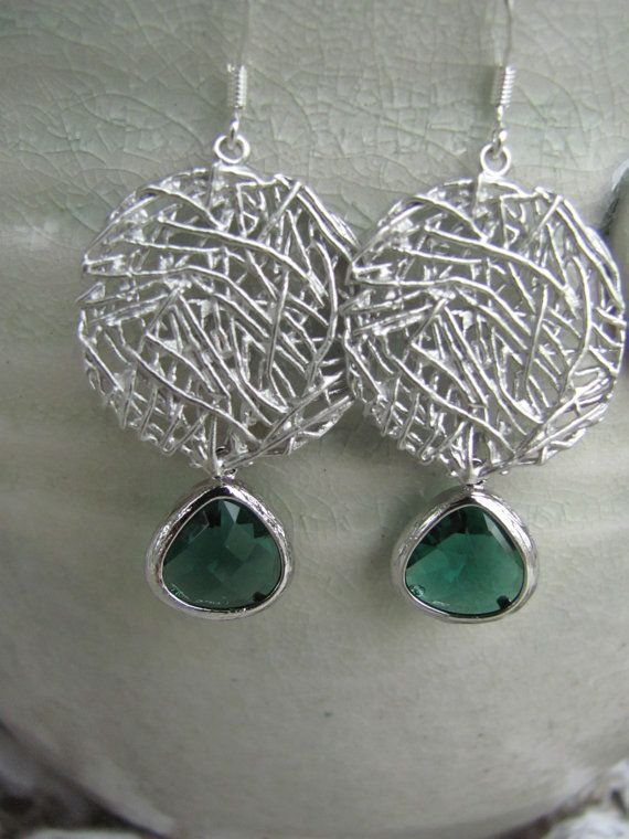Silver mesh earring with green dangle by Potteryforpeace on Etsy, $24.00
