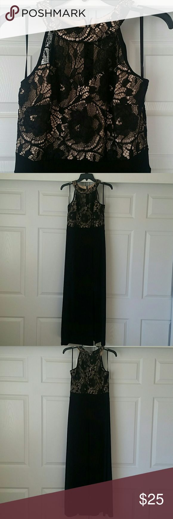 Black Lace & Nude Formal Dress Black lace and nude floor length dress. Hidden zipper at back, small slit on left leg. Fabric is stretchy.   16.5 inch bust, 46 inches long from arm pit.  ?Feel free to make an offer using the offer link?  ?No Trades? Dresses