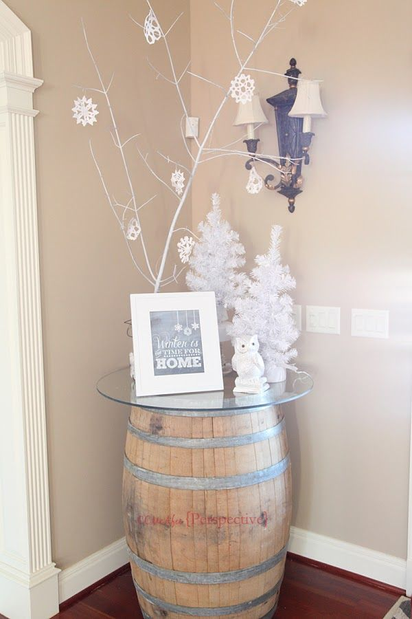 I love decorating for winter, after Christmas is over, plus it breaks up me having to put my stuff away! White branch tree, white trees, white owl, paper snowflakes.