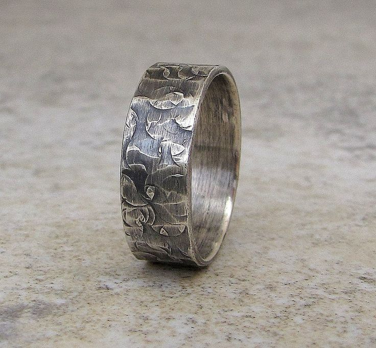 mens wedding ring hammered silver band distressed by silversmack 7300 - Wedding Rings For Him
