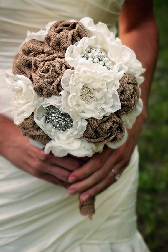 Unique, rustic and elegant, hand-sewn fabric bridal bouquet, with or without rhinestone embellishments. Burlap and ivory flowers and a