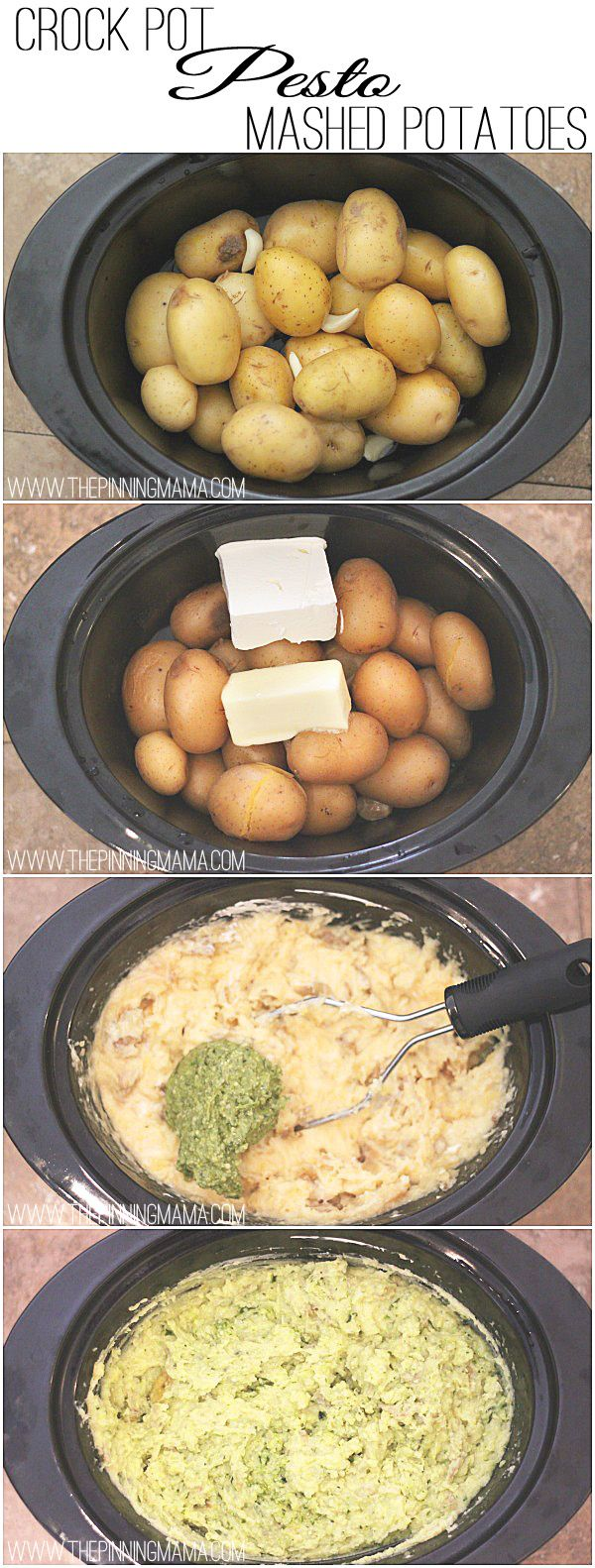 Only 6 ingredients and 4 steps to amazingly delicious Pesto Mashed Potatoes made in your crock pot! So EASY!  Recipe via thepinningmama.com.