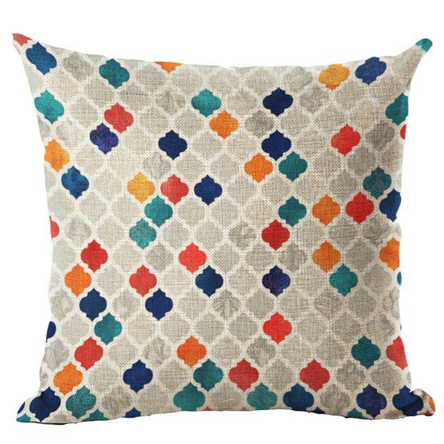 Mosaic Series Cushion Nordic Throw Pillow Moroccan Style Cushion Cotton Linen Bird Square Blue Sofa Home Decorative Pillows H039