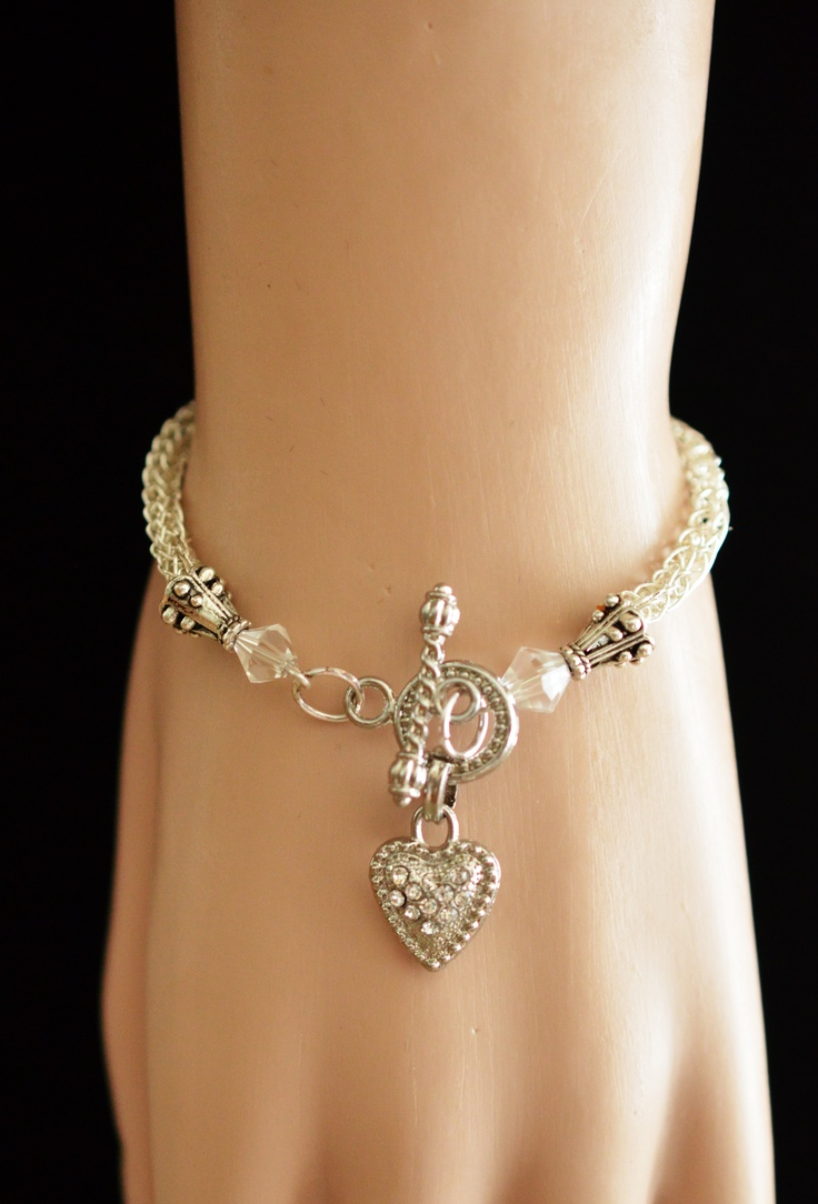 Silver Plated Viking Weave Bracelet with Heart $25.00 http://creationsbyjennilee.com