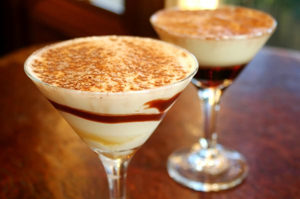 Spiced Caramel Apple Martini (rimmed with gingersnap crumbs) & Double Dutch Espresso (rich with strong coffee, cream and caramel flavors)