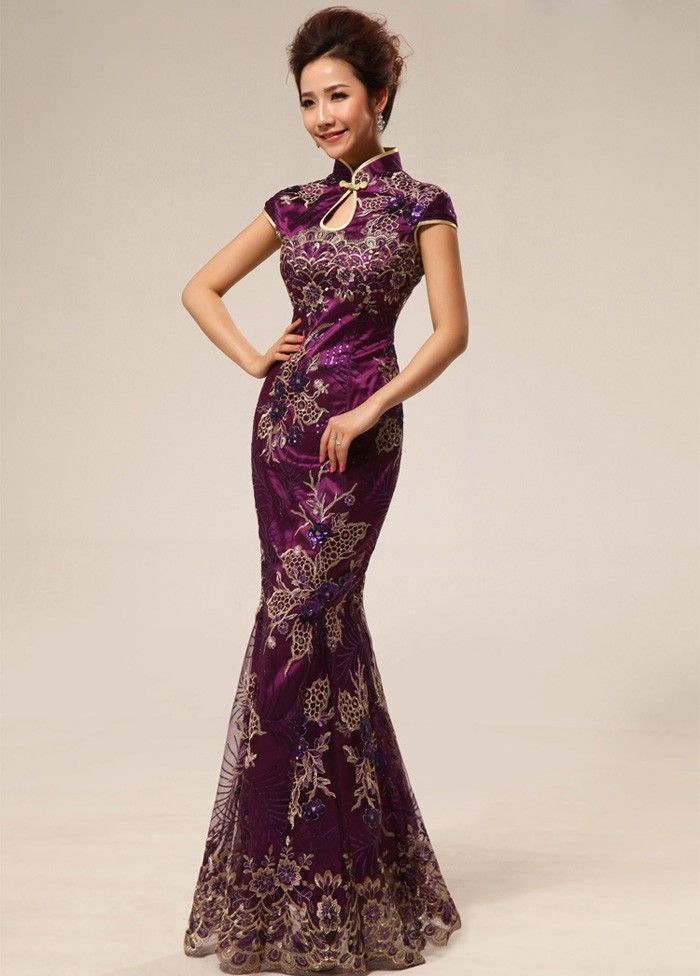 elegant chinese dresses | Meimaid Floor-Length Cheongsam Elegant Chinese Mandarin Gown for Party ...