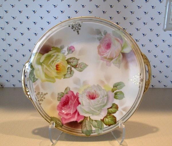 Prussia Royal Rudolstadt Beyer Bock 2 Handle Cake Plate Roses