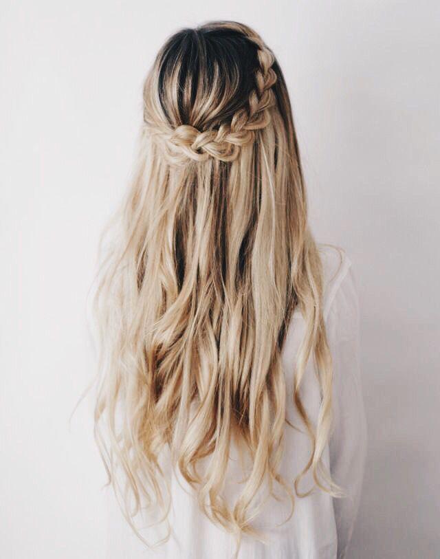 braid crown + loose waves