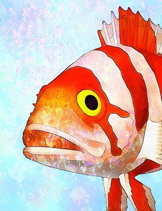 Fine Art Poster Underwater paint poster art fish saltwater fish underwater coralreef sea tropicalfish predatory fish shellfish seahorse starfish coral seaweed octopus shells seashells picture watercolor painting