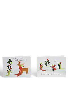 Set van 8 kerstkaarten met grappige pinguïns,