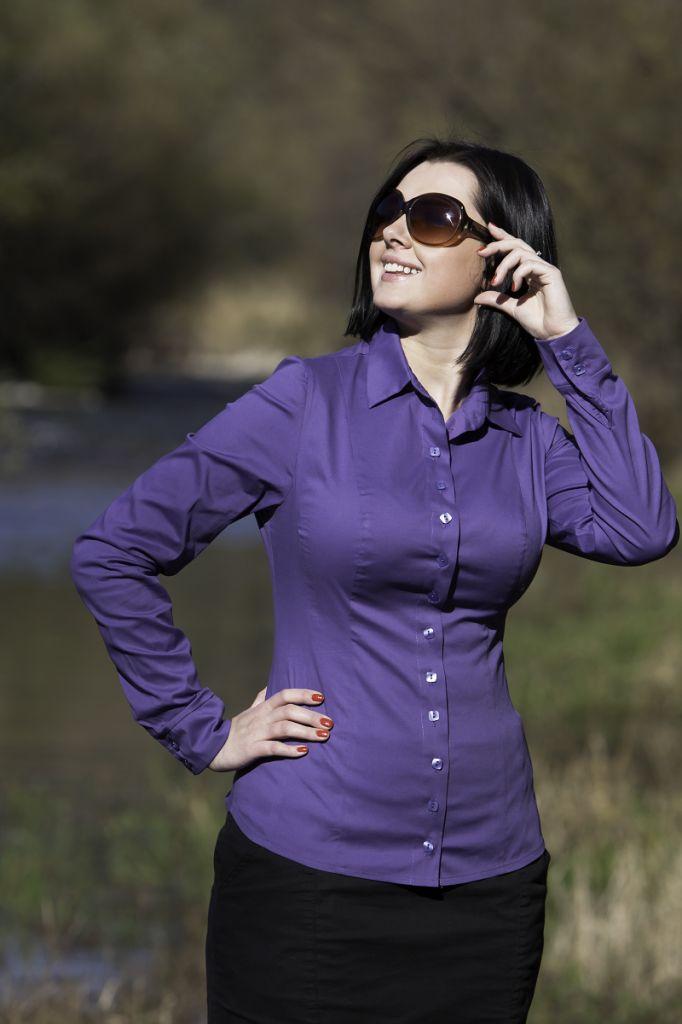 BiuBiu Modena Button-down Shirt in Purple