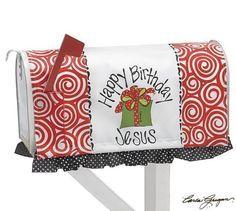 "Red Swirl ""Happy Birthday Jesus"" Nylon Mailbox Cover by Burton and Burton. $10.95. This ""Happy Birthday Jesus"" mailbox cover is a great decoration for your outside Christmas decor."