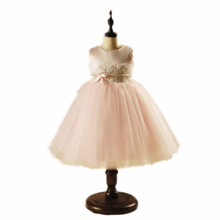 2016 White chiffon toddler girls christening gowns,Pearl Vestido batizado branco,Brand delicate baby 1 years birthday dresses#1 year birthday dress