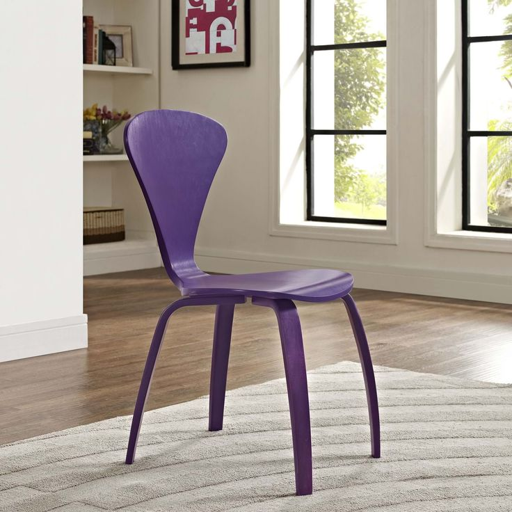 Vortex Dining Side Chair in Purple, Purple - Accommodate channeled growth with the Vortex chair. Nothing is lost in this piece that conveys molded wood elements in exceptional ways . With a welcoming waterfall effect seat and distinctive V-shaped back, radiate outward to include new and greater visions. Set Includes: One - The Vortex Chair. Material: MATERIALS: PAINTED BENTWOOD PLYWOOD VENEER ANTI-SKID FABRIC FOOT PAD. Weight: 10. Assembly Required