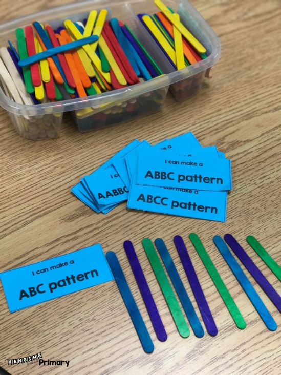 Try out a soft start in your Primary classroom with Good Morning Baskets filled with literacy and math activities.  Use these free patterning cards and your students can make patterns with any material.