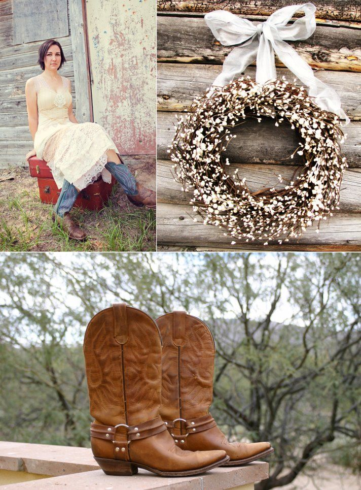 Country western themed wedding bride wears cowboy boots for Decoration western country
