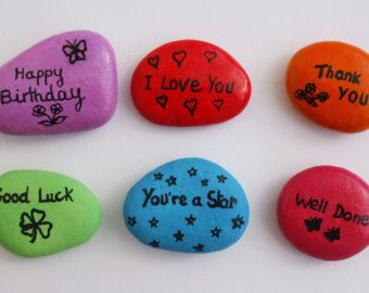 Painted Pebbles  Fridge Magnets: Cats Painting on Stones
