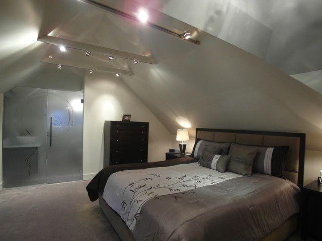 Loft bedroom modern glass