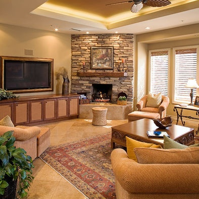 Best Livingroom Images On Pinterest Corner Fireplaces