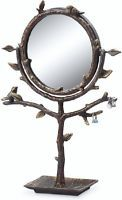 Bird & Branch Table Vanity Mirror Jewelry Tree Holder Stand Display Swivel