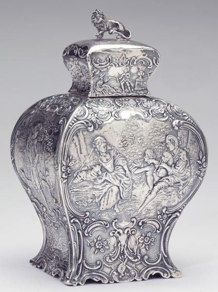 Hanau Silver Tea Caddy 18th century Dutch style.