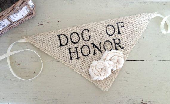 Ivory Dog of Honor Girl Collar with Flowers Bandana Rustic Burlap Wedding Photo Prop on Etsy, $15.00
