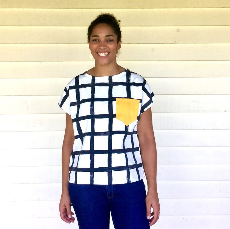 The ladies grid tee from Kablooie Store - bold, colourful, quirky fashion for ladies! Be fabulous!!