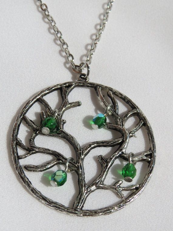 Emerald Tree of Life Charm Necklace  Silver and Green by Thielen, $12.95