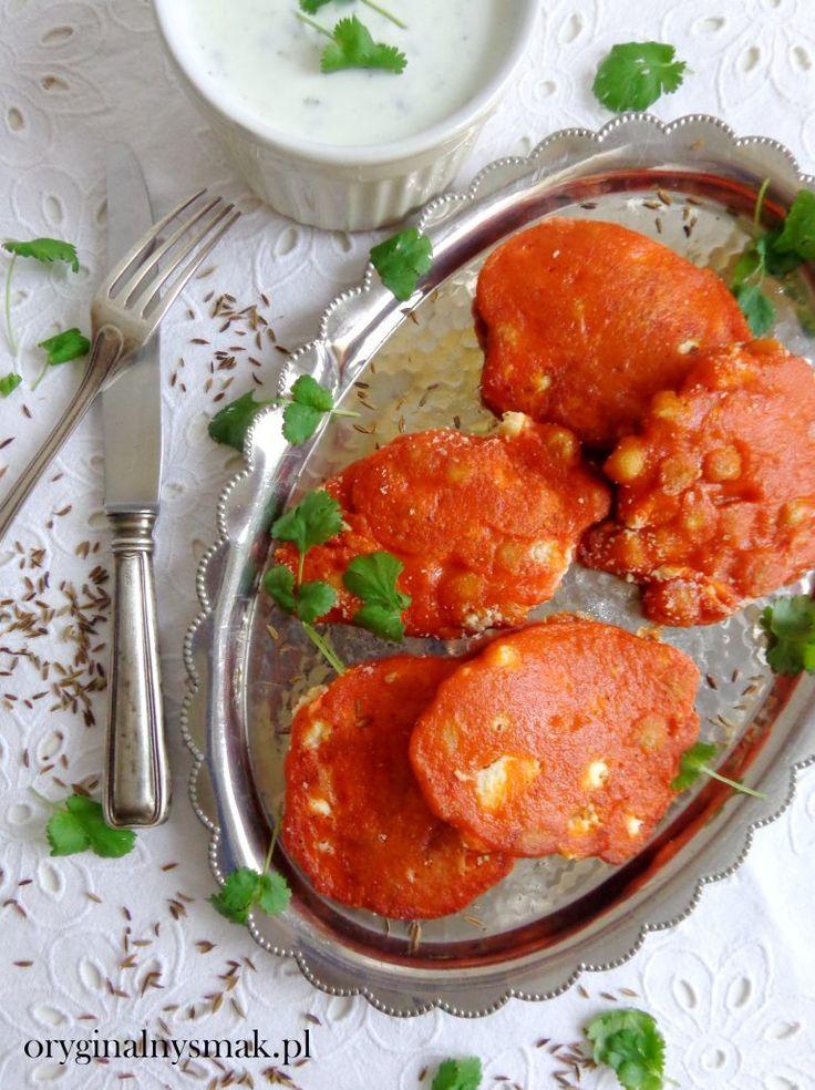 Placuszki z pieczonej papryki z ciecierzycą i serem feta    Oryginalny smak