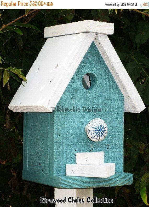 30% OFF FLASH SALE Today Beach Style Birdhouse -Chalet Birdhouse - Nautical Decor-Colorful Birdhouse- Chickadee Birdhouse-Nautical Birdhouse