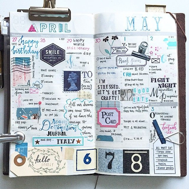   wk of Apr. 27 - May 3. 2015   Pinks & Blues. Late entry. Playing catch up. #midoritravelersnotebook #MTN #travelersnotebook #journal #stationery #stationerylove #stationeryaddict #planner #plannerlove #planneraddict #handwriting #postage #stamps #studiol2e #washitape #stickers #watercolors #brushscript #jenniepae #kellypurkey #teresacollins