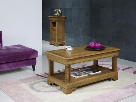 Table basse réalisée en Chêne de style Louis Philippe 1 tiroir de chaque coté