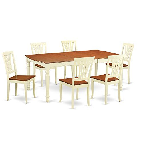 East West Furniture DOAV7 WHI W 7 Piece Kitchen Dinette Table And 6 Dining