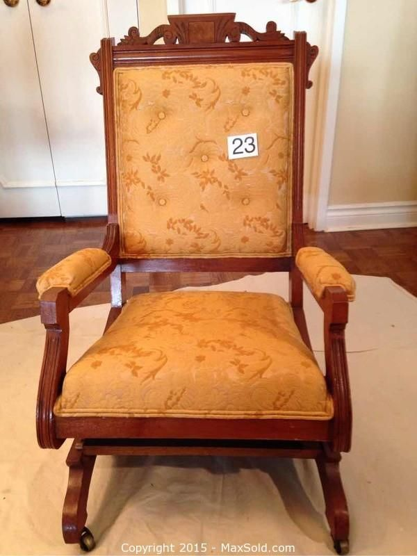 MaxSold   Auction: Toronto Downsizing Auction   Vintage Upholstered Rocking  Chair
