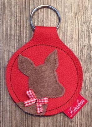 Schlüsselanhänger rot mit Reh von Liesken auf DaWanda.com