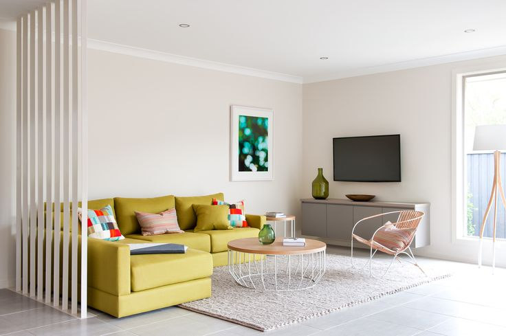 Living Room -  Novara 245 with Aspire Facade on display at Greenway Estate, Colebee