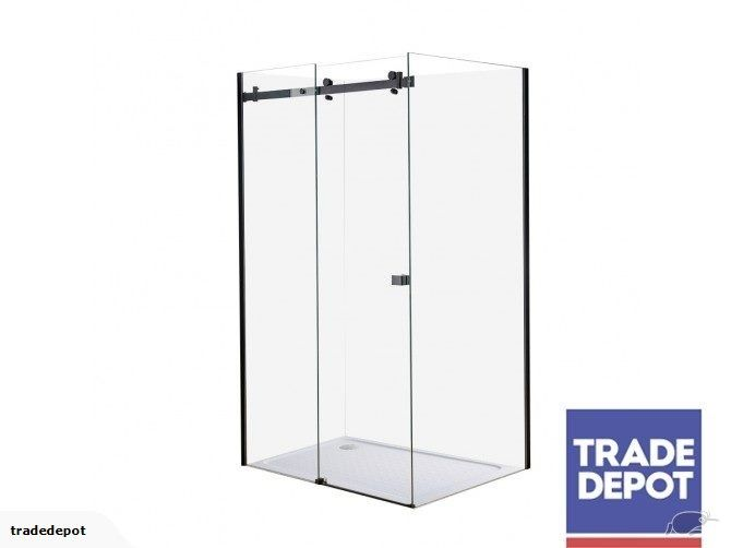 Arco Frameless Black Rectangle Shower 1200 X 900mm Right Door Flat Liner 40mm Profile Tray Corn Locker Storage Black Rectangle Safety Glass