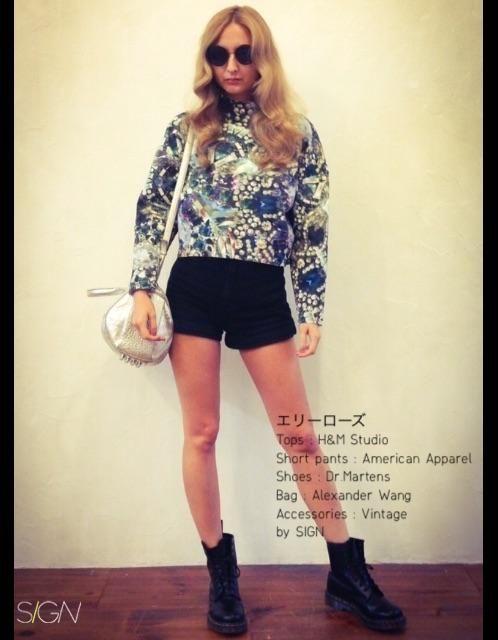 SHOES:Dr.Martens ACCESSORIES:Vintage SHORT PANTS:American Apparel BAG:Alexander Wang TOPS:H&M Studio...