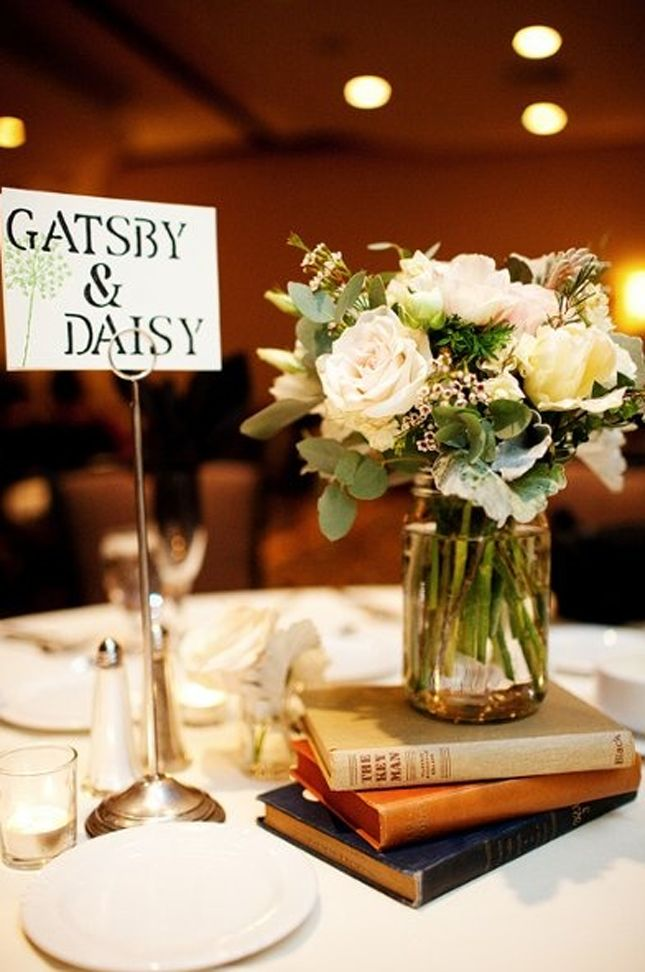 Instead of table numbers use famous literary couples | 30 Ideas for a Book-Inspired Wedding via Brit + Co.
