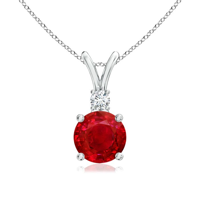 Angara Oval Ruby Necklace With Diamond Encrusted Bail in 14k White Gold 1m27BMhgub