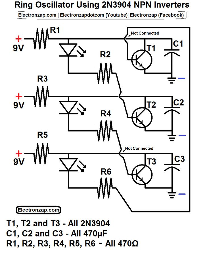ring oscillator schematic using 3 2n3904 npn transistor