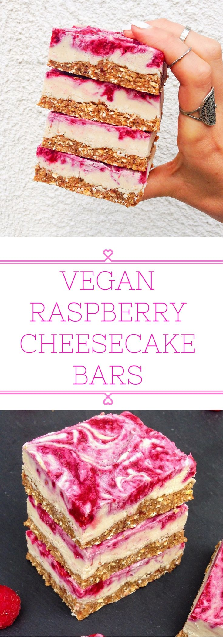 Vegan raspberry cheesecake bars that can be stored in the fridge for weeks…