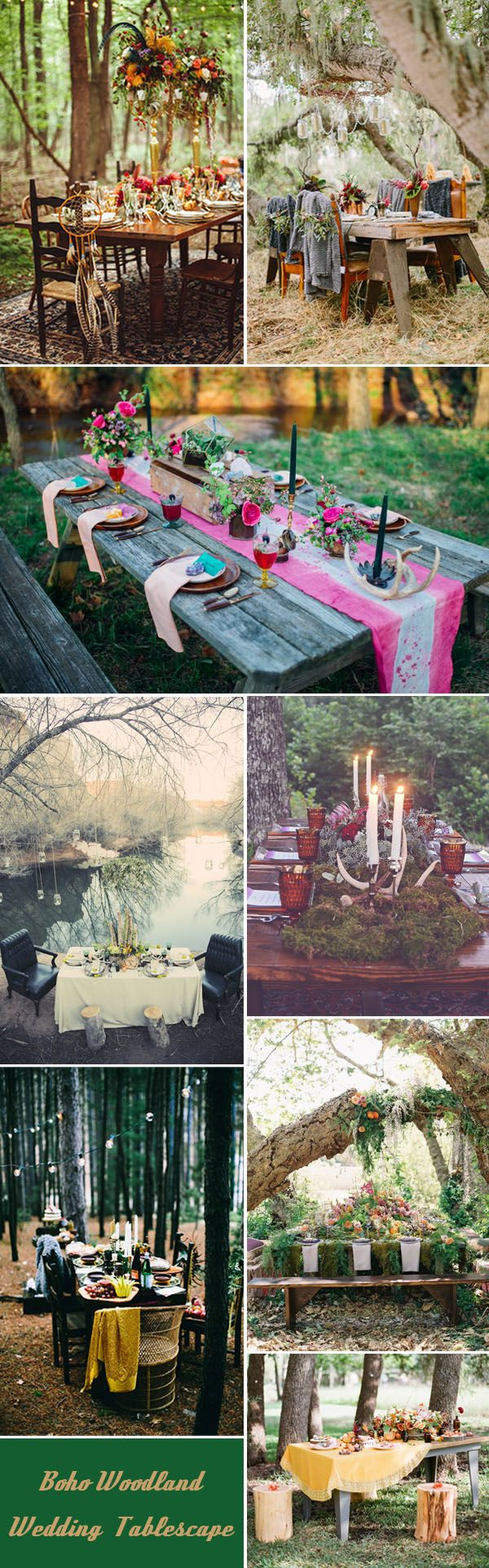 gorgeous bohemian woodland and forest wedding table settings