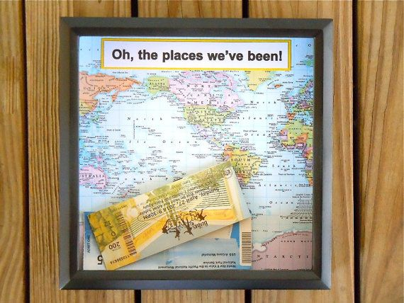 Shadow Box Ticket Holder - Ticket Box - Drop Top Shadow Box - Map Frame - Ticket Keeper - Customized Gift  - Great All Occasion Gift