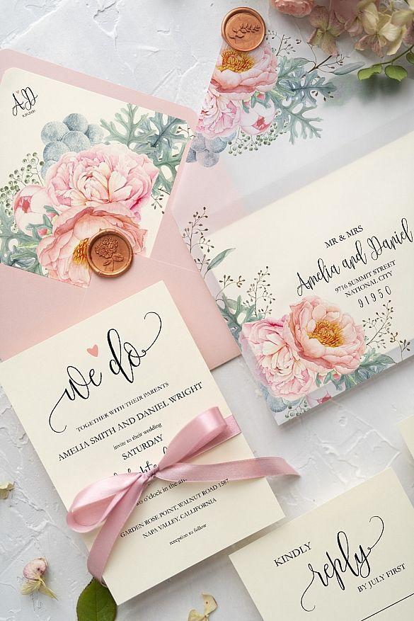 Wedding Invitations Botanical Modern 21 Greenpi Z Lace Wedding Invitations Wedding Invitation Cards Pink Wedding Invitations